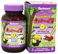Bluebonnet Nutrition - Animalz Vitamin D3 Natural Mixed Berry Flavor 400 IU - 90 Chewable Tablets, from category: Vitamins & Minerals