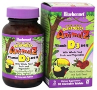 Bluebonnet Nutrition - Animalz Vitamin D3 Natural Mixed Berry Flavor 400 IU - 90 Chewable Tablets