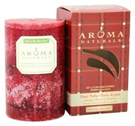 "Image of Aroma Naturals - Peace Ruby Holiday Naturally Blended Pillar Eco-Candle 2.5"" x 4"" Orange, Clove and Cinnamon"