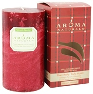 "Image of Aroma Naturals - Peace Ruby Holiday Naturally Blended Pillar Eco-Candle 2.75"" x 5"" Orange, Clove and Cinnamon"