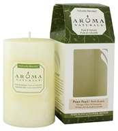 "Image of Aroma Naturals - Peace Pearl Naturally Blended Pillar Eco-Candle 2.5"" x 4"" Orange, Clove & Cinnamon"