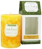 "Image of Aroma Naturals - Relaxing Naturally Blended Pillar Eco-Candle 2.5"" x 4"" Lavender & Tangerine"
