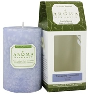 "Aroma Naturals - Tranquility Naturally Blended Pillar Eco-Candle 2.5"" x 4"" Wildcrafted Lavender (769360131204)"