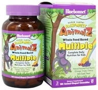 Bluebonnet Nutrition - Animalz Whole Food Based Multiple Natural Assorted Fruit Flavors (Orange, Grape, Cherry) with EarthSweet - 180 Chewables (743715001916)
