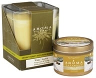 Aroma Naturals - Wish Holiday Set Soy Vegepure Square Glass and Small Tin Eco-Candles Peppermint & Vanilla