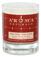 Aroma Naturals - Peace Ruby Holiday Soy VegePure Votive Glass Eco-Candle Orange, Clove and Cinnamon