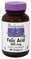 Bluebonnet Nutrition - Folic Acid 800 mcg. - 90 Vegetarian Capsules - $8.76