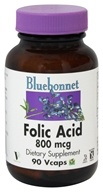 Bluebonnet Nutrition - Folic Acid 800 mcg. - 90 Vegetarian Capsules (743715004504)