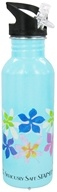 New Wave Enviro Products - Flip N' Sip Stainless Steel Water Bottle Floral - 0.6 Liter(s) CLEARANCE PRICED (796515820256)