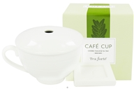 Tea Forte - Cafe Cup Covered Teacup & Tea Tray Bone White