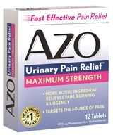 Image of Amerifit Brands - Azo Standard Maximum Strength Urinary Pain Relief 97.5 mg. - 12 Tablets