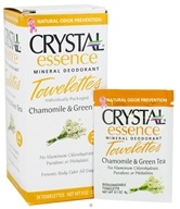 Crystal Body Deodorant - Crystal Essence Mineral Deodorant Towelettes Chamomile & Green Tea - 24 Towelette(s) by Crystal Body Deodorant