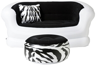 Pure Comfort - Inflatable Love Seat & Ottoman 8513LS Zebra Print by Pure Comfort