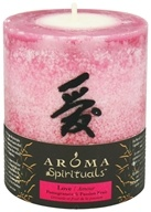 "Image of Aroma Naturals - Spirituals Love Naturally Blended Pillar Eco-Candle 3"" x3.5"" Pomegranate & Passion Fruit"