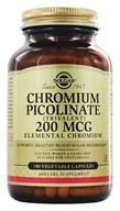 Solgar - Chromium Picolinate Trivalent Elemental Chromium 200 mcg. - 180 Vegetarian Capsules, from category: Vitamins & Minerals