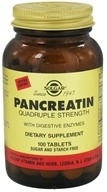 Solgar - Pancreatin Quadruple Strength With Digestive Enzymes - 100 Tablets
