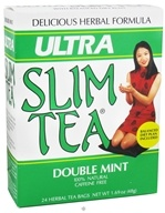 Hobe Labs - Ultra Slim Tea 100% Natural Caffeine Free Double Mint - 24 Tea Bags CLEARANCE PRICED