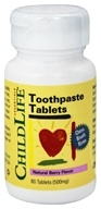 Child Life Essentials - Toothpaste Tablets Natural Berry Flavor 500 mg. - 60 Chewable Tablets