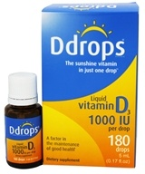 Ddrops - Liquid Vitamin D3 180 Drops 1000 IU - 0.17 oz. by Ddrops