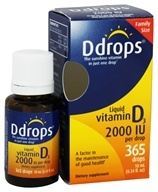 Ddrops - Liquid Vitamin D3 365 Drops 2000 IU - 0.34 oz. by Ddrops
