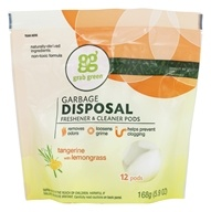GrabGreen - Garbage Disposal Freshener & Cleaner 12 Pods Tangerine with Lemongrass - 5.9 oz.