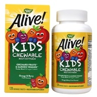Nature's Way - Alive Children's Chewable Multi-Vitamins Natural Orange & Berry Flavors - 120 Chewable Tablets (033674157862)
