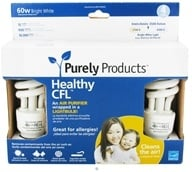 Purely Products - Healthy CFL Air Purifier Twist Lightbulb 60-Watts Bright White - 4 Pack