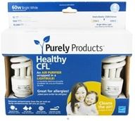 Image of Purely Products - Healthy CFL Air Purifier Twist Lightbulb 60-Watts Bright White - 4 Pack