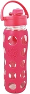 Lifefactory - Glass Beverage Bottle With Silicone Sleeve and Flip Top Cap Raspberry Pink - 22 oz. (728028100518)