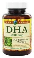 Pure Vegan - DHA 200 mg. - 60 Vegetarian Softgels, from category: Nutritional Supplements