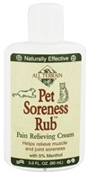 All Terrain - Pet Soreness Rub Pain Relieving Cream with 5% Menthol - 3 oz. CLEARANCE PRICED