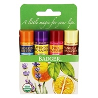 Badger - Certified Organic Classic Lip Balm Variety Pack - 4 x 0.15 oz. by Badger