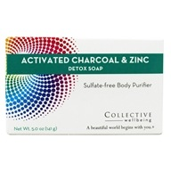 Collective Wellbeing - Detox Soap Sulfate-Free Body Purifier Bar with Active Charcoal & Zinc - 5 oz. (800704020126)