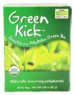 NOW Foods - Green Kick Sencha and Matcha Green Tea - 24 Tea Bags (733739042262)