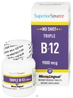 Superior Source - No Shot Triple B12 Instant Dissolve 9000 mcg. - 30 Tablets - $24.79
