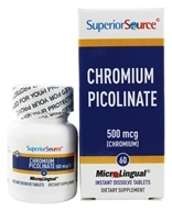 Superior Source - Chromium Picolinate Instant Dissolve 500 mcg. - 60 Tablets - $11.24