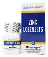 Superior Source - Zinc Lozenjets Instant Dissolve - 60 Tablets