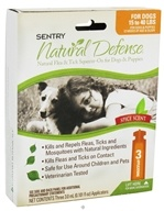 Image of Sergeant's Pet Care - Sentry Natural Defense Flea & Tick Squeeze-On For Dogs 15-40 lbs. Spice Scent - 3 Applications