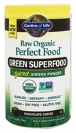 Image of Garden of Life - Perfect Food RAW Super Green Formula Chocolate Cacao - 10 oz.