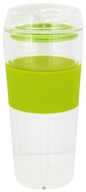 Image of Takeya USA - Double Wall Glass Tumbler and Lid with Green Silicone Grip - 16 oz.