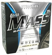 Image of Dymatize Nutrition - Elite Mass Gainer Hi-Protein Muscle Gainer Cookies & Cream - 10 lbs.