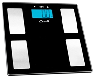Image of Escali - Body Fat, Water, Muscle Mass Digital Bathroom Scale USHM180G Black Glass