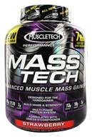 Image of Muscletech Products - Mass Tech Performance Series Advanced Muscle Mass Gainer Strawberry - 7 lbs.