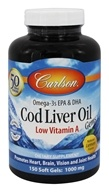 Image of Carlson Labs - Norwegian Cod Liver Oil Gems Low Vitamin A 1000 mg. - 150 Softgels
