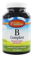 Carlson Labs - B-Compleet Vitamin B Complex with Vitamin C - 180 Tablets (088395020148)