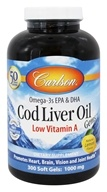 Carlson Labs - Norwegian Cod Liver Oil Gems Low Vitamin A 1000 mg. - 300 Softgels (088395013935)