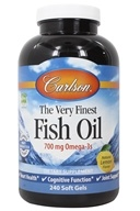 Carlson Labs - The Very Finest Norwegian Fish Oil Omega-3's DHA & EPA Lemon Flavor 1000 mg. - 240 Softgels (088395016325)