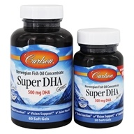 Carlson Labs - Super DHA Gems 500 mg. - Bonus Pack 60+20 Softgels (088395015540)