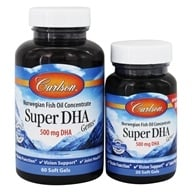 Carlson Labs - Super DHA Gems 500 mg. - Bonus Pack 60+20 Softgels - $16.73