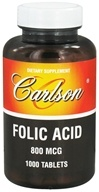 Carlson Labs - Folic Acid 800 mcg. - 1000 Tablets CLEARANCE PRICED, from category: Vitamins & Minerals